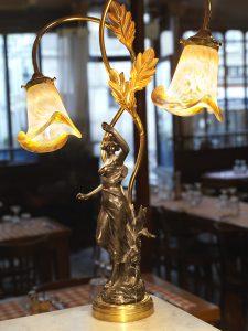Lampe art nouveau du Polidor, restaurant pas cher et historique de Paris