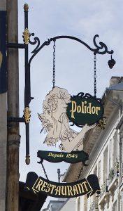 Enseigne du Polidor, restaurant pas cher et historique de Paris