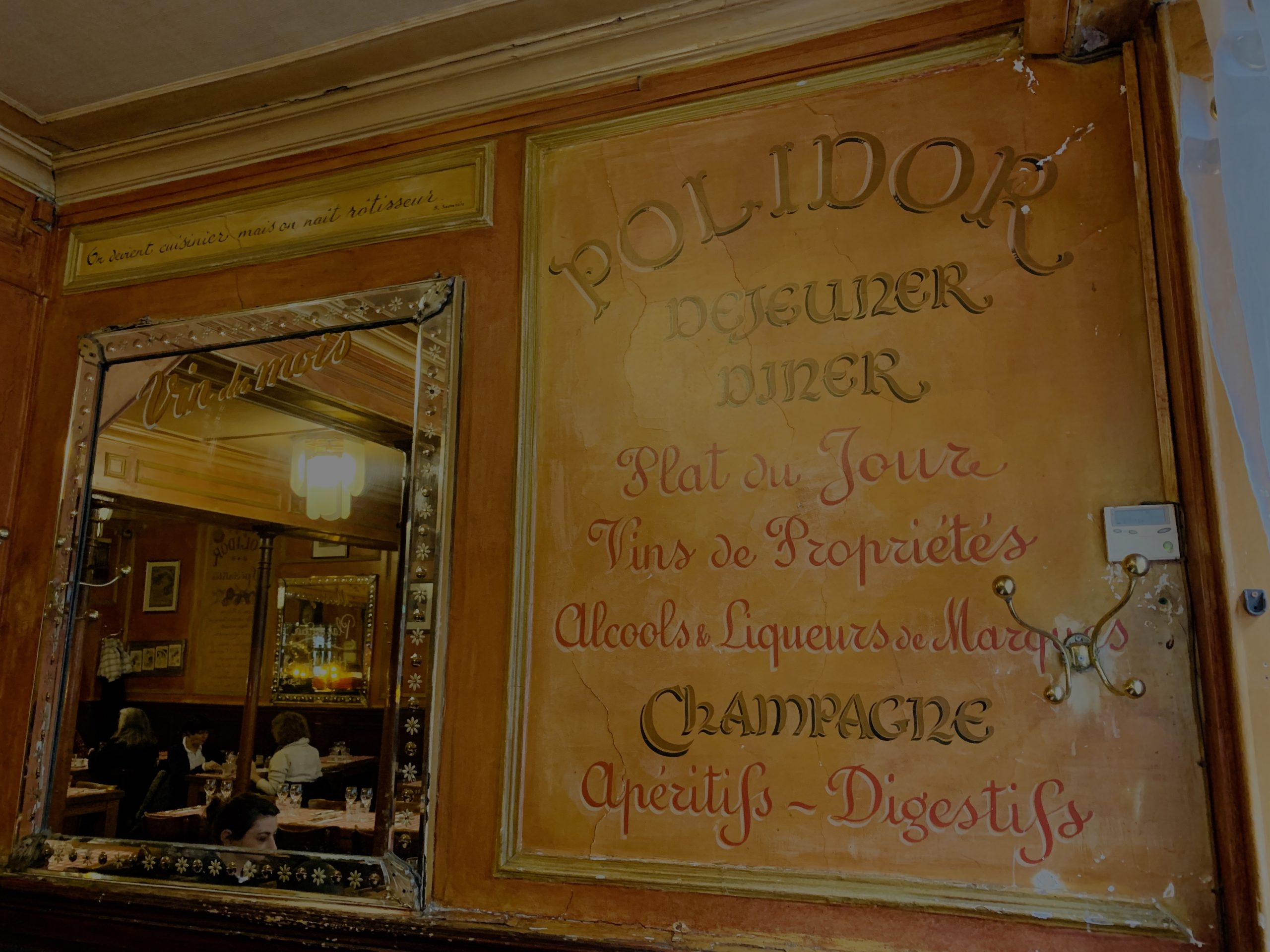 Ancien menu du Polidor restaurant pas cher Paris