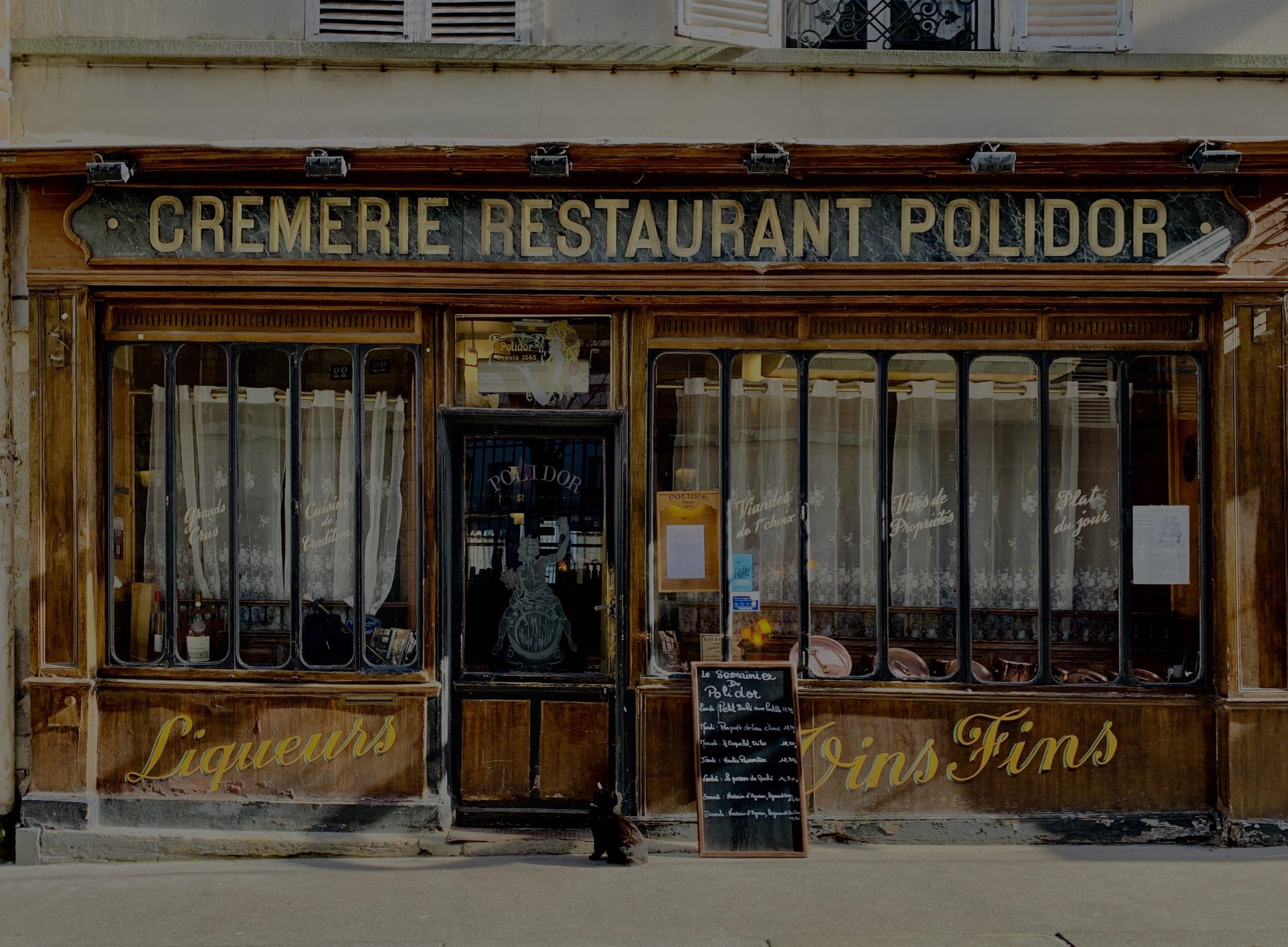 Façade du Polidor restaurant pas cher Paris
