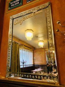 Photo du miroir du Polidor restaurant pas cher Paris