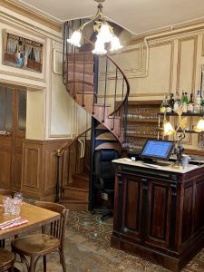 Stairs at the Polidor, historic restaurant in Paris
