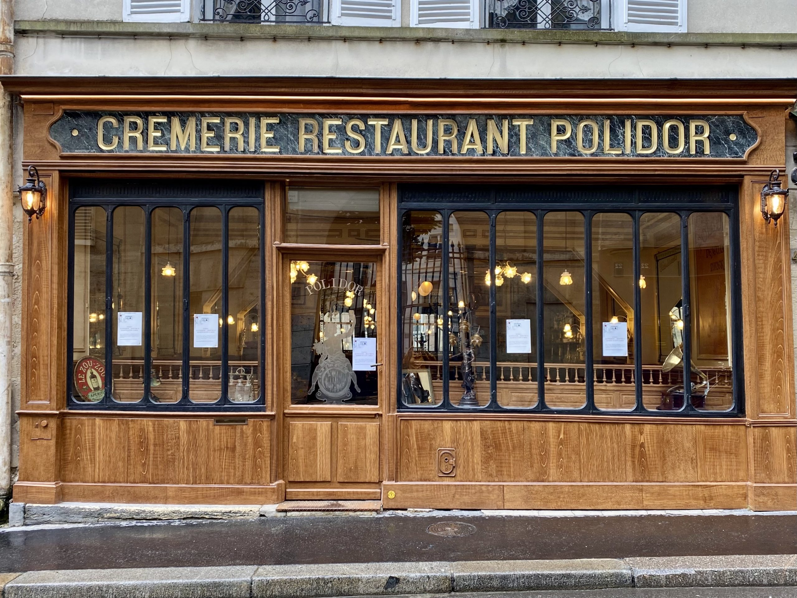 Front of the Polidor, historic restaurant in Paris