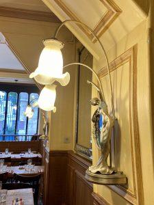 Lamp at Polidor, historic restaurant in Paris