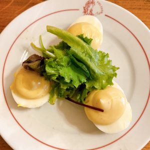 Eggs with mayonnaise at Polidor, historic restaurant in Paris