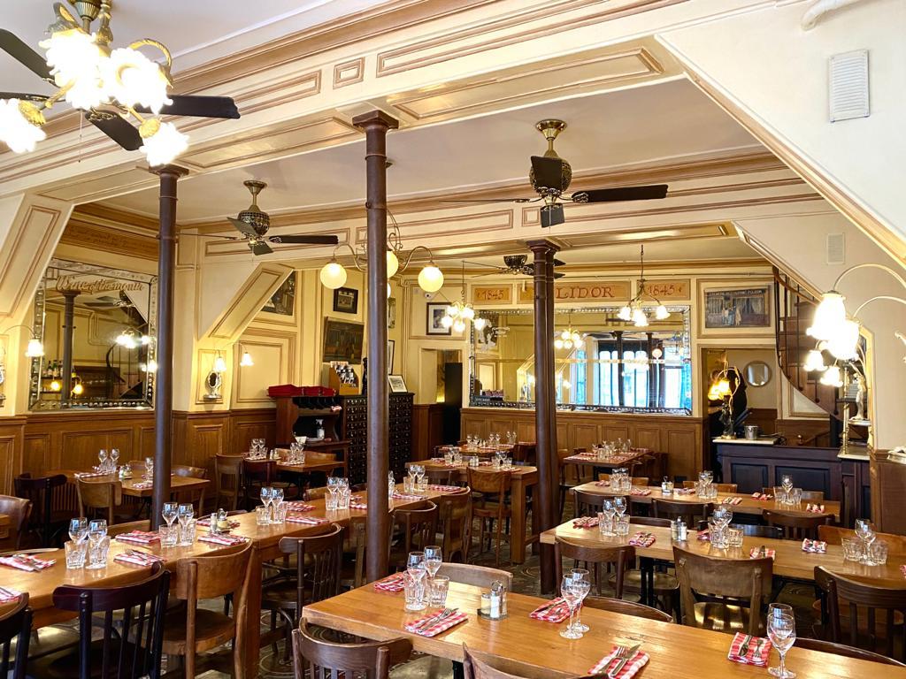Main room at Polidor, historic restaurant in Paris