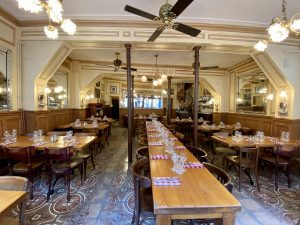 Main room at the Polidor, historic restaurant in Paris